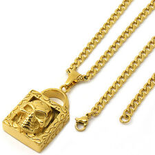 """Stainless Steel Gold Plated Skull Lock Pendant 4mm 24"""" Cuban Necklace Chain"""