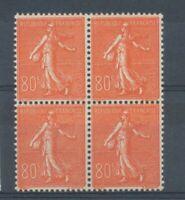 FRANCE Bloc de 4 N°203, 80c. rouge Semeuse lignée NEUF LUXE ** COTE 240€ P1539