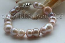 "8"" Genuine Natural 20mm Purple Baroque Twins Pearl Bracelet 925silver #f2716!"