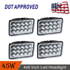 "DOT (4) 4x6"" 45W LED Headlights For Kenworth Peterbilt Freightliner Free Ship"