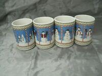 "Sakura SNOWMAN Debbie Mumm Set of 4-4 3/4"" Coffee Cocoa Tea Mugs Christmas EUC"