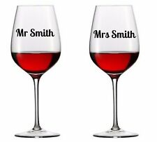 Personalised Wedding Bridal Party Vinyl Decal Wine Glass stickers x 2