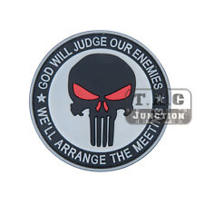 Tactical Grey Punisher Skull Patch Military Armband Badge BDU Cloth Backpack Cap