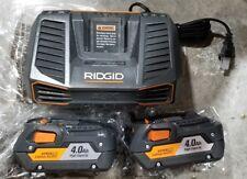 2 NEW RIDGID 18V HIGH CAPACITY HYPER LITHIUM 4.0 AH BATTERY PACKS w gen5x charge