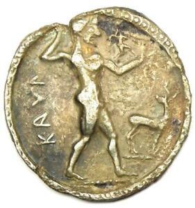 Greek Bruttium Caulonia AR Apollo Silver Stater Coin 500 BC - Certified NGC VF