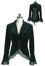 Chic Star Black Victorian Steampunk Velvet Corset Style Jacket UK Size 6 to 28 22