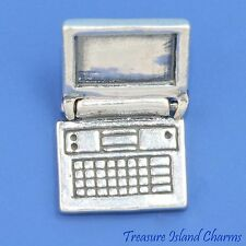 LAPTOP COMPUTER NOTEBOOK MOVABLE 3D .925 Solid Sterling Silver Charm OPENS