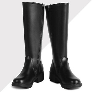 Mens Knight High boots Faux Leather Knee High Army Military Boot Zipper Shoes