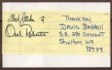 Oral Roberts Signed Index Card Autographed Signature Evangelist  AUTO