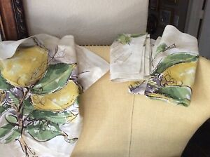 "Set Of 4 Pottery Barn 🍋 Lemon Cotton Napkins , 20"" X 20"" New"