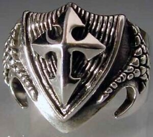 Stainless Dragon Shield Ring Custom Size Medieval Talisman Crest Coat of Arms ss