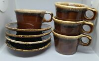 Vintage Set of 4 Hull Brown Drip D- Handle Crestone Coffee/Tea Cup and Saucer