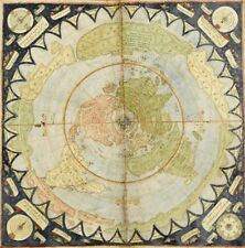Flat Earth Map:  Monte, Urbano:  Circa 1589: MAP PRINT