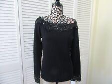 Chetta B Sweater,Top, Women, L, NWT,Black, bead,lace trim on neckline,cuffs,LS