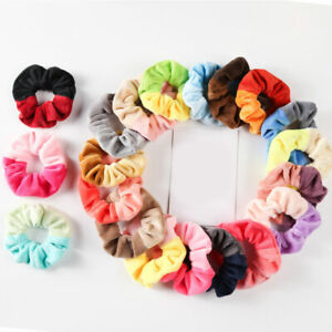 Women Colors Patchwork Elastic Scrunchies Hair Ties Band Plush Ponytail Holder
