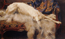Borzoi Dog Lady Of Quality Painting By Philip H. Calderon On Canvas Repro 10x16