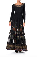 new CAMILLA FRANKS SILK SWAROVSKI REBELLE REBELLE MAXI SKIRT WITH LACE INSERTS