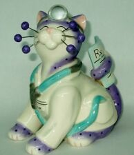 """WhimsiClay """"Dr. Bell CatWell"""", colorful Dr. cat figurine, benefits Red Cross"""