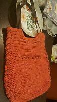 Sun 'N' Sand Accessories-Est. 1986-Burnt Orange Purse w/Brown Leather Straps