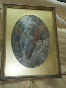 Original Big Victorian painting c 1880 Signed Listed Fairy Glen Betws-y-Coed