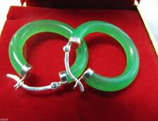 HOT Beautifully Silver Green Jade Women's Circle Drop / Dangle Earrings AAAR