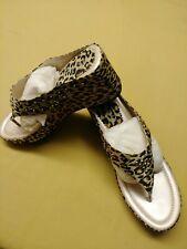 1pair Selena Leopard print dress slippers size 10M /w Diamond & Gold Studs