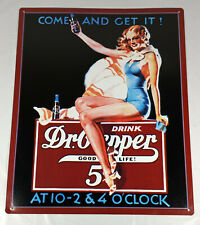 """Dr.Pepper Embossed Retro COME AND GET IT!  Tin Ad Sign 12.5""""x15.5"""""""