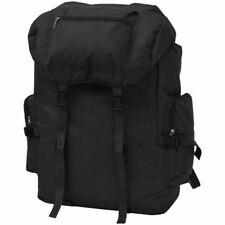 vidaXL Army-Style Backpack 65L Black Waterproof Hiking Camping Bag Rucksack