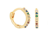 Rainbow Gold Hugging Hoops 18K Gold 925 Sterling Silver Huggie Hoops CZ Crystal