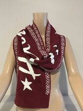 Abercrombie & Fitch Hollister Scarf Women's Large Logo Knit Scarf Burgundy NWT