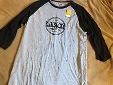 Whiskey Militia Men's Black Grey Baseball T-Shirt 2XL XXL NWT
