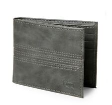 NEW LEVI'S RFID PROTECTION BIFOLD LEATHER GRAY MENS WALLET.