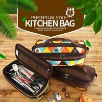 Outdoor Camp Cooking Utensil Organizer Pouch Set Travel Bag Cookware New B4L3