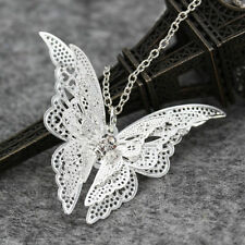 LOVELY 3D SILVER ALLOY INTRICATE FILIGREE STYLE BUTTERFLY NECKLACE