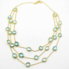 Natural Sky Blue Topaz 3 Layer Statement Necklace Gold Plated Sterling Silver