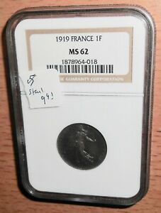France MS62 1919 Franc in NGC holder