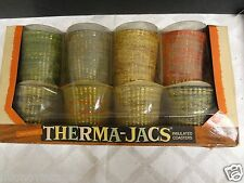 Vintage retro mid Century Thermo Jacs  cloth lined drink cozy coaster lot boxed