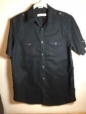 CALVIN KLEIN  Mens Black Shirt / 100% Cotton Casual Button Down S/S Top Size S
