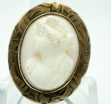 "/ Brooch / 1"" X 13/16"" 4g Antique / Cameo W/ Beautiful Bronze Intricate Setting"