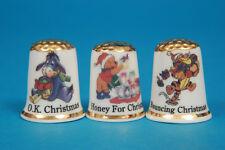 Christmas Winnie The Pooh,Tigger & Eeyore Boxed Gold Top Set Thimbles B/116