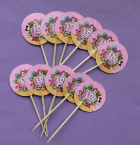 LOL SURPRISE CAKE CUPCAKE TOPPERS PICKS Doll Girls Kids birthday party