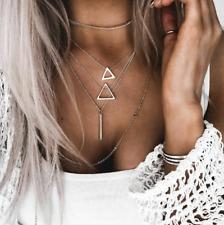 Multi-layer Boho Bohemia Silver Plated Alloy Triangle Bar Pendant Long Necklace