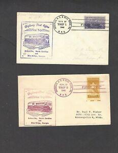 HIGHWAY POST OFFICE COVERS ASHVILLE,NC & BLUE RIDGE,GA NOV 27-1948 TRIP 1 & 2