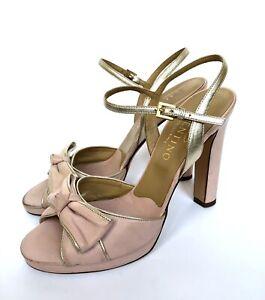 VALENTINO Garavani Pink Leather Bow Heel Platform Slingback Shoes Size 39 IT