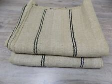TWO identical handwoven Flax&Hemp Plaids Rugs Raw Beige 1920s 1,5x1,8m NOT USED