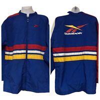 Vintage Reebok Full Zip Blue Logo Windbreaker Stripes Size Xl Coat Jacket Light