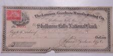 1898 Lamson Goodnow Check Shel Falls Bk 2ct Stmp Fitchburg File Ephemera C29-029