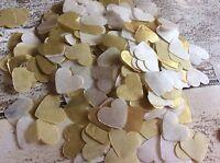 2000 Biodegradable tissue paper heart confetti Cream and Gold wedding decoration