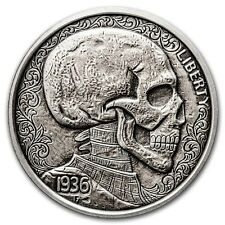 NEW Limited 1 oz Hobo Nickel Antiqued Art Round (Skulls & Scrolls) Silver w/COA