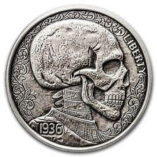 NEW Limited 1 oz Hobo Nickel Antiqued Art Round (Skulls & Scrolls) Silver w/COA